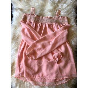 Sugarlips Pink blouse. Elastic top, poofy sleeves